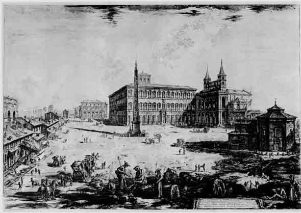 Piazza San Giovanni in Laterano nel 1746/48, ma guarda com'era? l'ospedale so che già c'era, ma non so se era nello stesso posto di ora, sarebbe a sinistra dell'immagine dans immagini di Roma 7sangiovorig