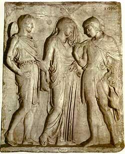 Rilievo con Orfeo, Euridice ed Hermes, copia di età augustea di un originale greco del V secolo a.C.di scuola fidiaca, marmo (Napoli, Museo Archeologico Nazionale)