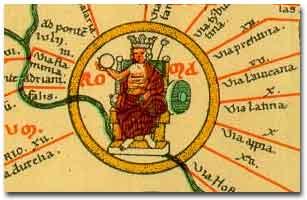 """Personificazione di Roma nella """"Tabula Peutingeriana"""", un lungo rotolo di pergamena (cm 682 x 34) copia medievale di una mappa militare romana del III secolo d.C."""